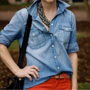 J. Crew Factory chambray Button up top, NWT
